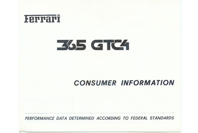 365 GTC/4 Consumer Information for USA 56/71