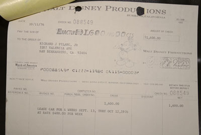 Copy of the check from Disney for $1,600 (4 weeks) of s/n 15661