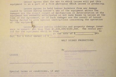 Lease agreement between Disney and Richard J. Filanc Jr., owner of s/n 15661