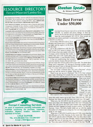 The Best Ferrari Under $50,000 Article by Mike Sheehan from Sports Car Market, August 1998