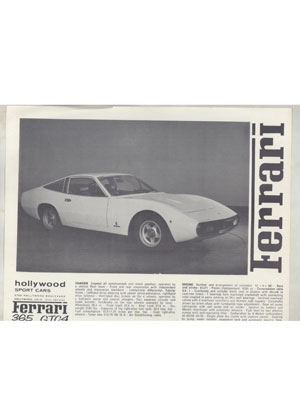 Hollywood Sport Cars Sales Brochure 1972