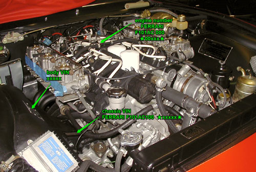 Under hood location of serial and engine numbers (s/n 15505).