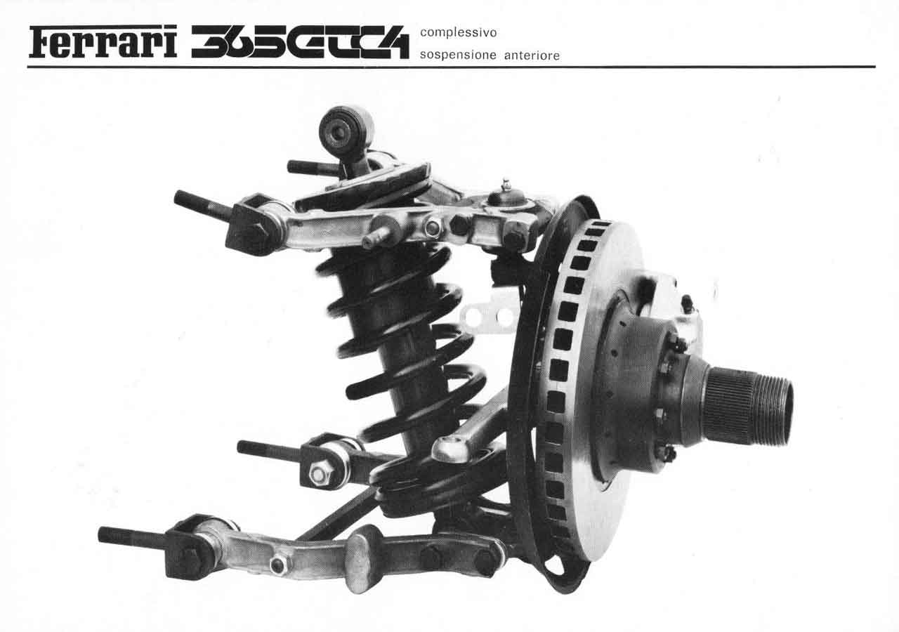Front suspension photo from Ferrari Sales Brochure 55/71